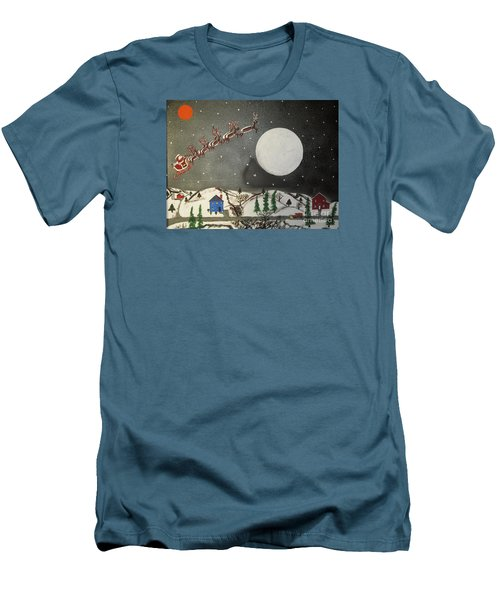 Men's T-Shirt (Slim Fit) featuring the painting Santa Over The Moon by Jeffrey Koss