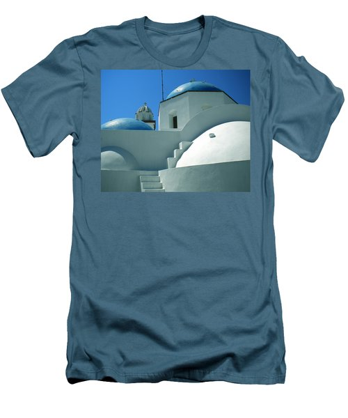 Men's T-Shirt (Slim Fit) featuring the photograph Santorini Church Greece by Colette V Hera  Guggenheim
