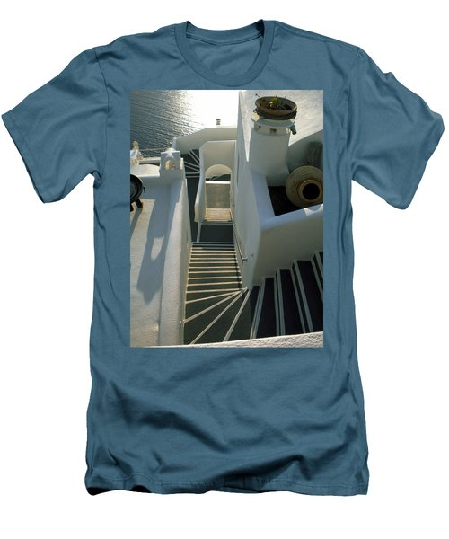 Men's T-Shirt (Slim Fit) featuring the photograph Santorini Stairs by Colette V Hera  Guggenheim