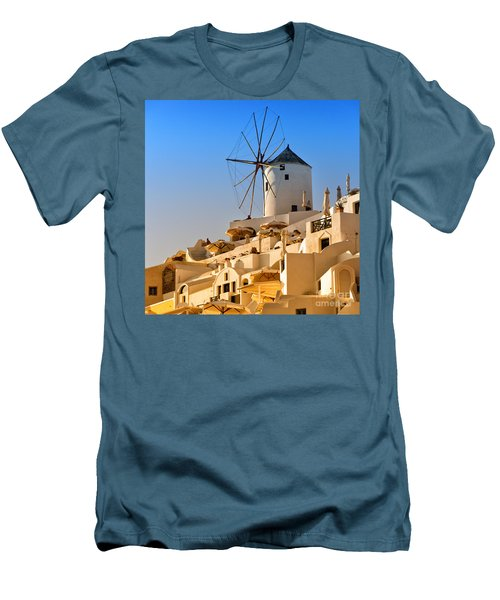 Santorini Windmill 05 Men's T-Shirt (Slim Fit) by Antony McAulay
