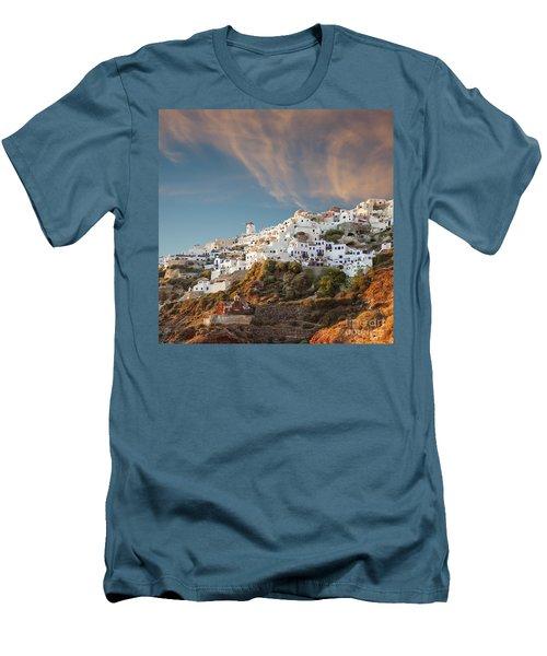Santorini Windmill At Dusk Men's T-Shirt (Athletic Fit)