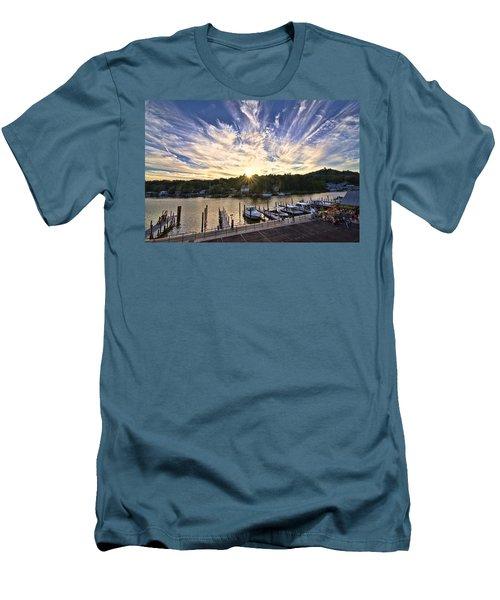 Men's T-Shirt (Slim Fit) featuring the photograph Saugatauk Sunset by John Hansen
