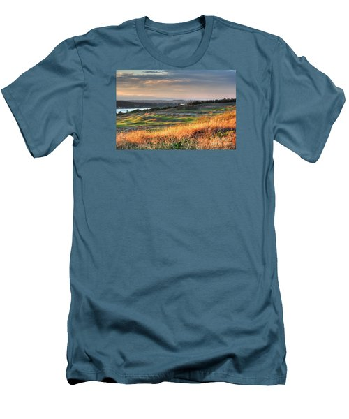 Scottish Style Links In September - Chambers Bay Golf Course Men's T-Shirt (Slim Fit) by Chris Anderson