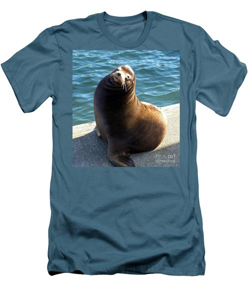 Men's T-Shirt (Slim Fit) featuring the photograph Sea Lion Basking In The Sun by Chalet Roome-Rigdon