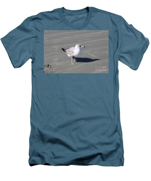 Men's T-Shirt (Slim Fit) featuring the pyrography Seagull On The Hunt by Chris Thomas