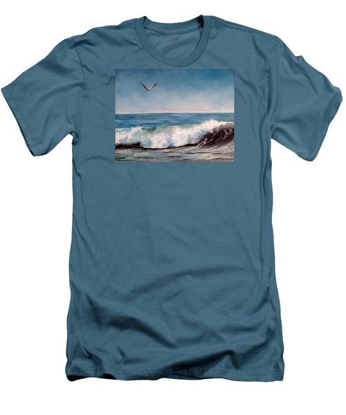 Seagull With Wave  Men's T-Shirt (Slim Fit)