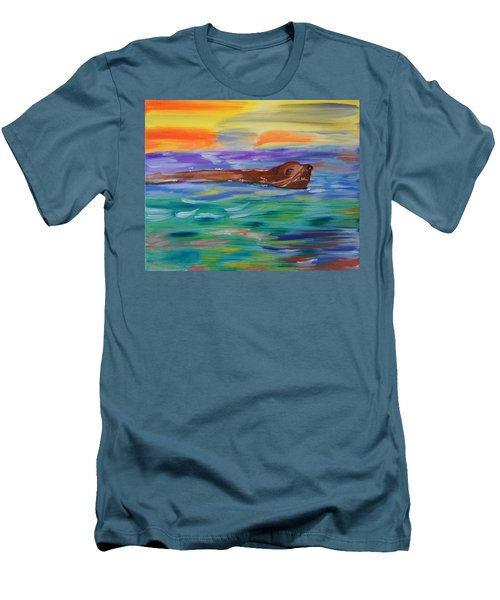 Men's T-Shirt (Slim Fit) featuring the painting Sunny Sea Lion by Meryl Goudey