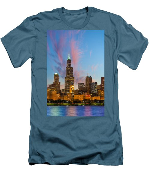 Men's T-Shirt (Slim Fit) featuring the photograph Sears Tower Sunset by Sebastian Musial