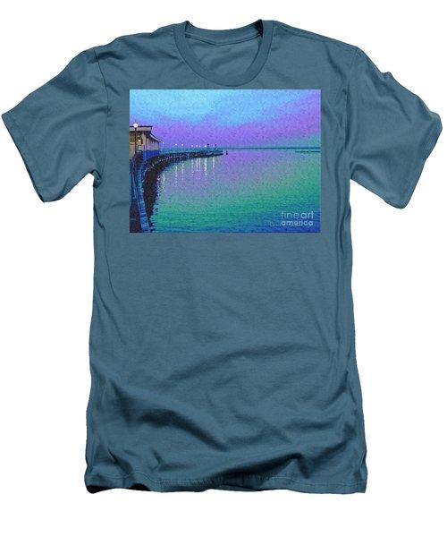 Painterly Seascape Purple Flurry Men's T-Shirt (Slim Fit) by Carol F Austin