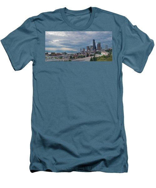 Men's T-Shirt (Slim Fit) featuring the photograph Seattle Downtown Skyline And Freeway Panorama by JPLDesigns