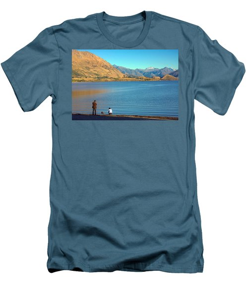 Men's T-Shirt (Slim Fit) featuring the photograph Shooting Ducks On Lake Wanaka by Stuart Litoff