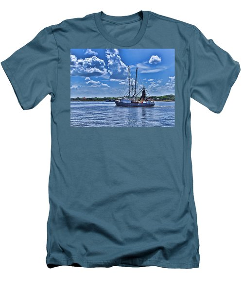 Men's T-Shirt (Slim Fit) featuring the photograph Shrimp Boat Heading To Sea by Ludwig Keck
