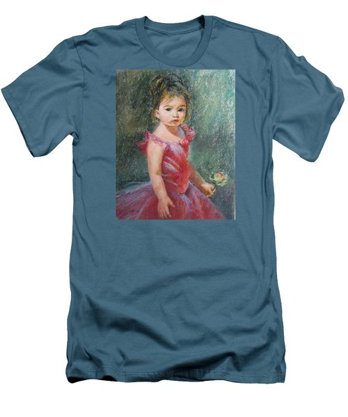 Men's T-Shirt (Slim Fit) featuring the painting Shy Rose by Jieming Wang