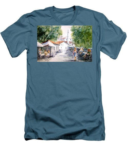 Men's T-Shirt (Slim Fit) featuring the painting Siesta In Bozcaada... by Faruk Koksal