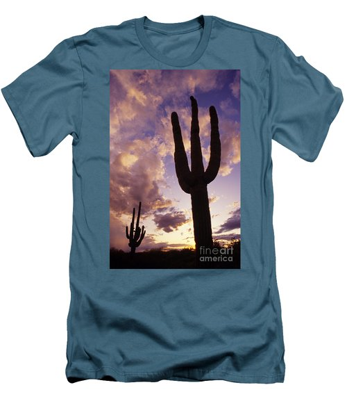 Silhouetted Saguaro Cactus Sunset At Dusk Arizona State Usa Men's T-Shirt (Athletic Fit)