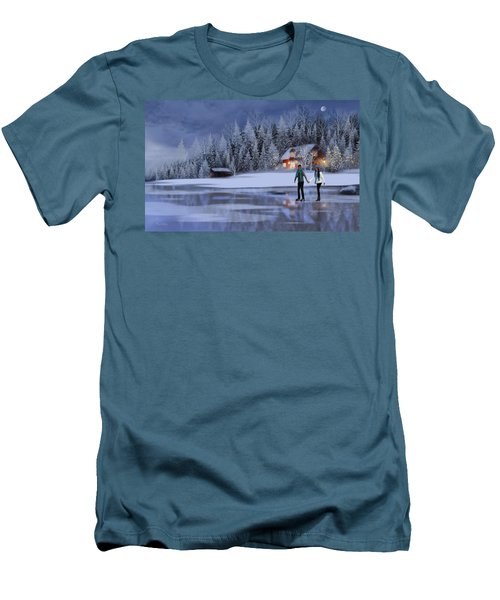 Skating At Christmas Night Men's T-Shirt (Athletic Fit)