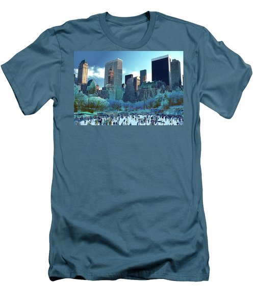 Skating Fantasy Wollman Rink New York City Men's T-Shirt (Slim Fit) by Tom Wurl
