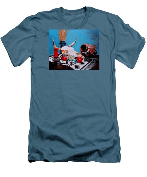 Men's T-Shirt (Slim Fit) featuring the painting Skull Still Life by M Diane Bonaparte