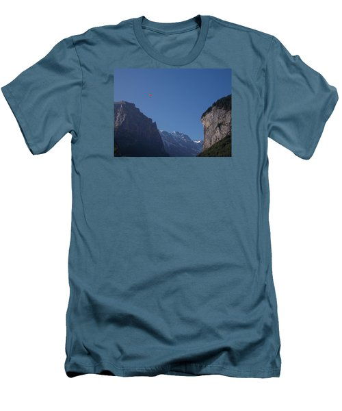 Skydiver Over Lauterbrunnen Men's T-Shirt (Athletic Fit)