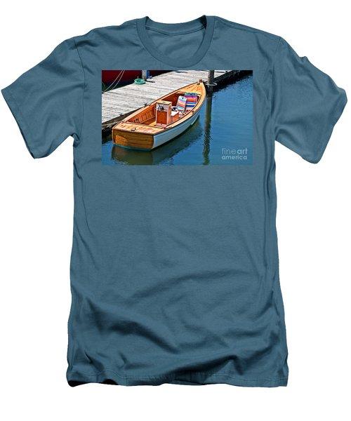 Small Dinghy Boat Art Prints Men's T-Shirt (Slim Fit) by Valerie Garner