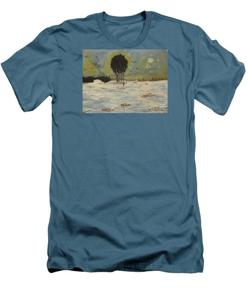 Men's T-Shirt (Slim Fit) featuring the painting Snow At Christmas by Pamela  Meredith