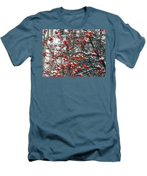 Snow- Capped Mountain Ash Berries Men's T-Shirt (Slim Fit) by Will Borden