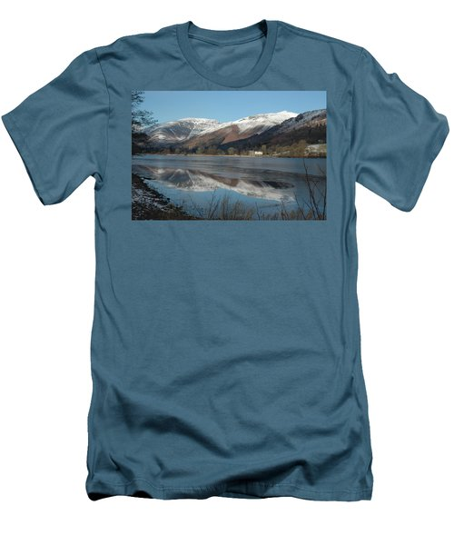Snow Lake Reflections Men's T-Shirt (Slim Fit) by Kathy Spall