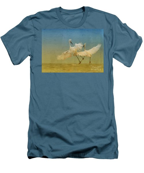 Snowy Egret Dance Men's T-Shirt (Slim Fit) by Deborah Benoit