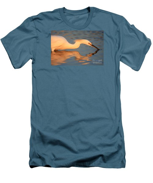 Men's T-Shirt (Slim Fit) featuring the photograph Snowy Egret Mirror by John F Tsumas