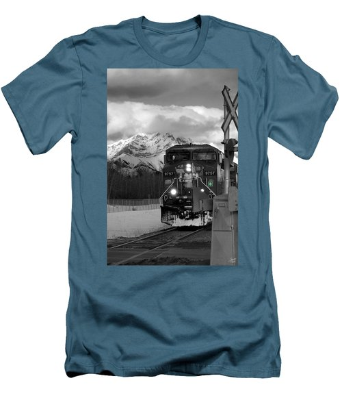 Snowy Engine Through The Rockies Men's T-Shirt (Athletic Fit)