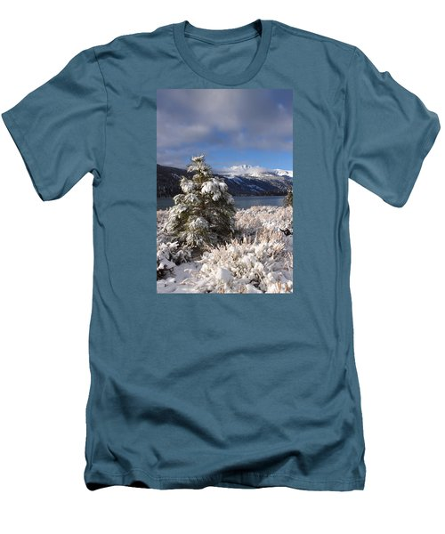 Snowy Pine  Men's T-Shirt (Slim Fit) by Duncan Selby