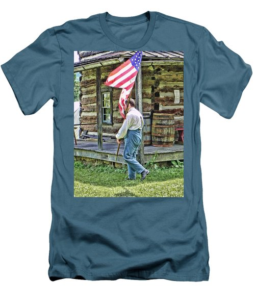 Men's T-Shirt (Slim Fit) featuring the photograph Soldier At Bedford Village Pa by Kathy Churchman