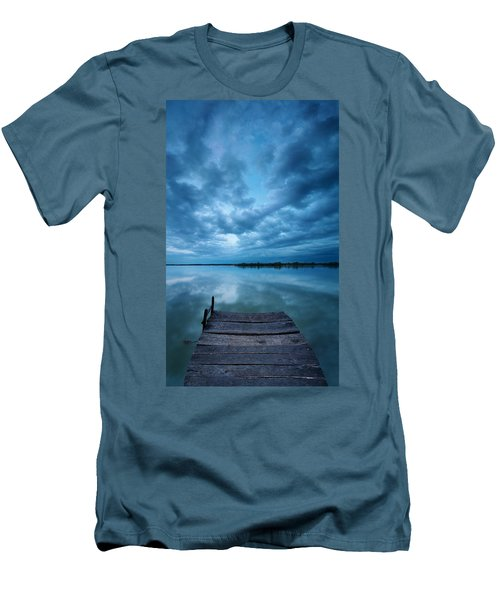Solitary Pier Men's T-Shirt (Slim Fit) by Davorin Mance