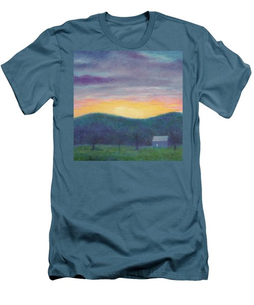 Men's T-Shirt (Slim Fit) featuring the painting Blue Yellow Nocturne Solitary Landscape by Judith Cheng
