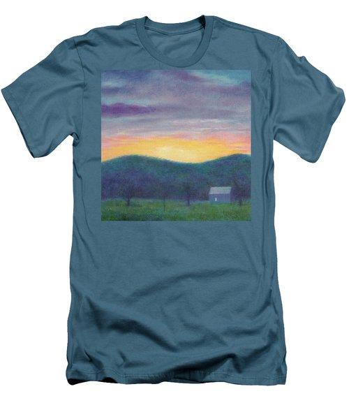 Blue Yellow Nocturne Solitary Landscape Men's T-Shirt (Athletic Fit)