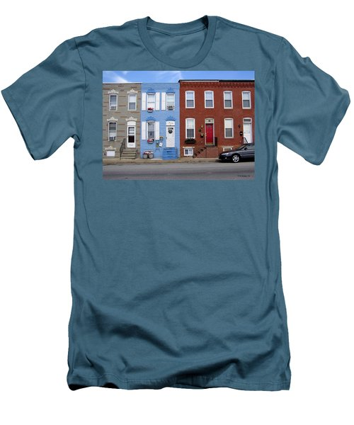 Men's T-Shirt (Slim Fit) featuring the photograph South Baltimore Row Homes by Brian Wallace