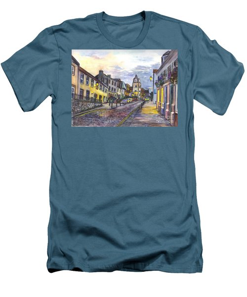 Men's T-Shirt (Slim Fit) featuring the painting Nightfall At South Queensferry Edinburgh Scotland At Dusk by Carol Wisniewski