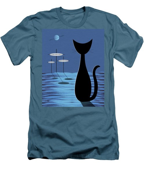 Space Cat In Blue Men's T-Shirt (Athletic Fit)