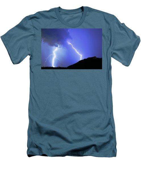 Spectacular Double Lightning Strike Men's T-Shirt (Athletic Fit)