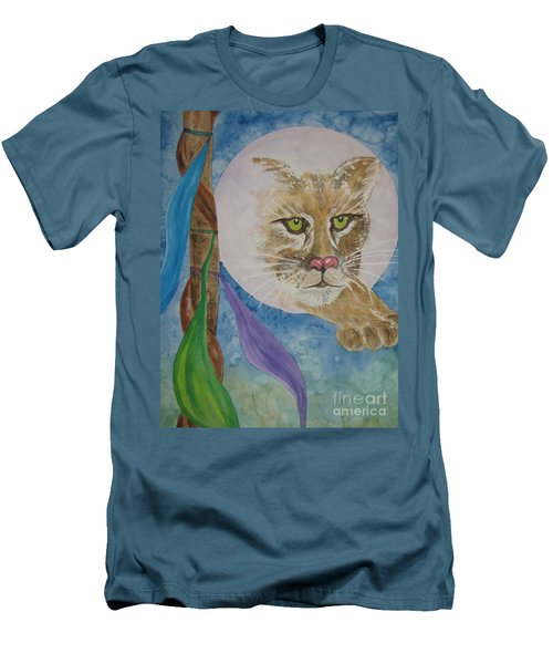 Men's T-Shirt (Slim Fit) featuring the painting Spirit Of The Mountain Lion by Ellen Levinson