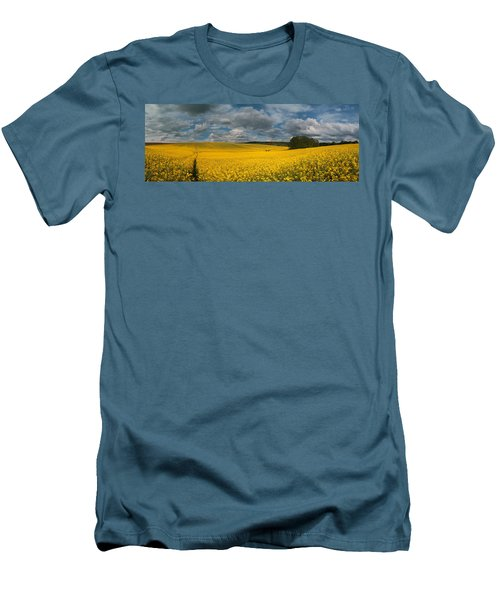 Spring At Oilseed Rape Field Men's T-Shirt (Slim Fit) by Davorin Mance