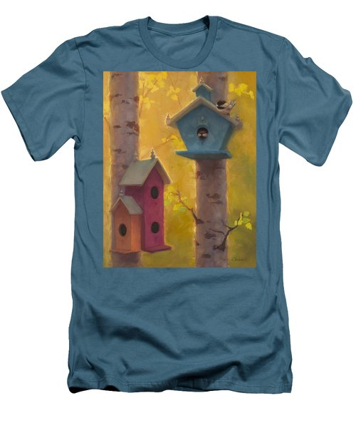 Spring Chickadees 2 - Birdhouse And Birch Forest Men's T-Shirt (Slim Fit) by Karen Whitworth