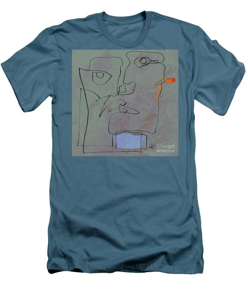 Men's T-Shirt (Slim Fit) featuring the painting Squigglehead With Blue Scarf And Red Ear  by Paul Davenport