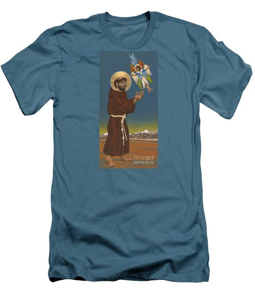 Men's T-Shirt (Slim Fit) featuring the painting St. Francis Patron Of Colorado 186 by William Hart McNichols