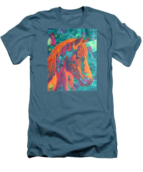 Men's T-Shirt (Slim Fit) featuring the painting Stable Master by Nancy Jolley