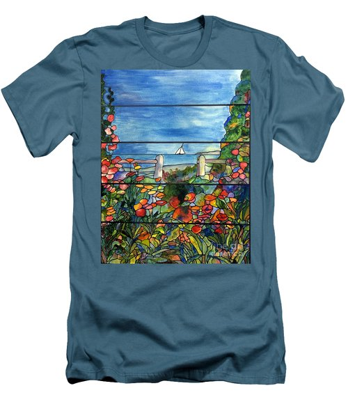Stained Glass Tiffany Landscape Window With Sailboat Men's T-Shirt (Slim Fit) by Donna Walsh