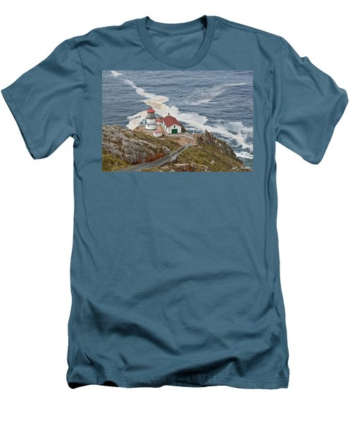 Stairway Leading To Point Reyes Lighthouse Men's T-Shirt (Slim Fit) by Jeff Goulden