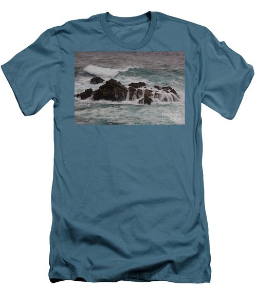 Men's T-Shirt (Slim Fit) featuring the photograph Standing Up To The Waves by Suzanne Luft