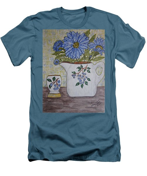 Men's T-Shirt (Slim Fit) featuring the painting Stangl Blueberry Pottery by Kathy Marrs Chandler