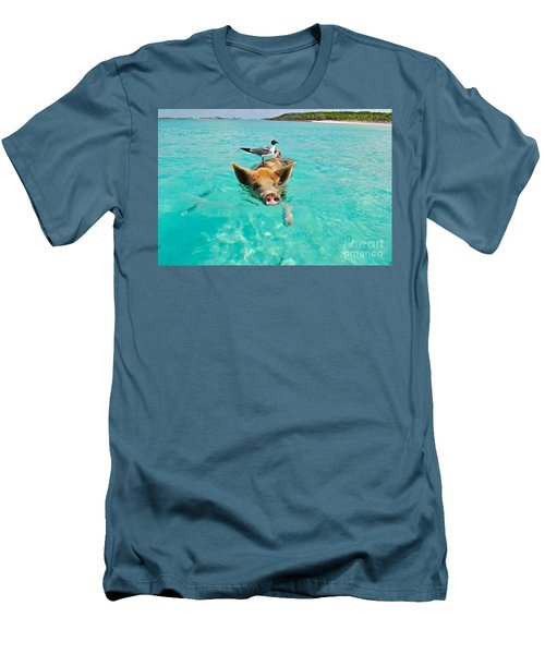 Staniel Cay Swimming Pig Seagull Fish Exumas Men's T-Shirt (Athletic Fit)